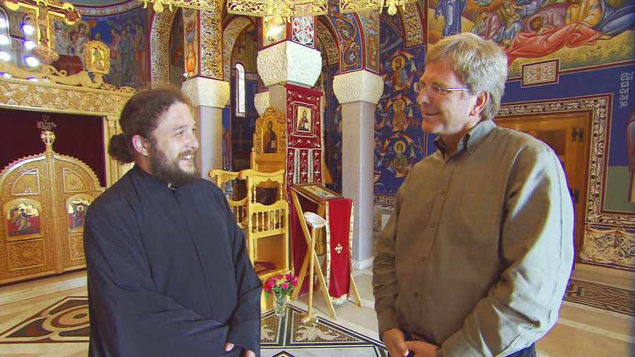 Rick with Serbian Orthodox clergy, Trebinje, Bosnia-Herzegovina