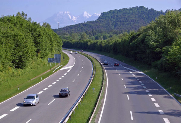 Freeway near Julian Alps, Slovenia