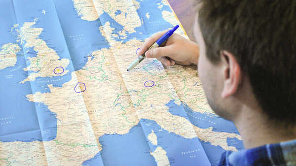 Circling locations on a map of Europe
