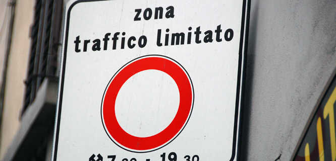 ZTL (restricted city-center driving) road sign, Florence, Italy
