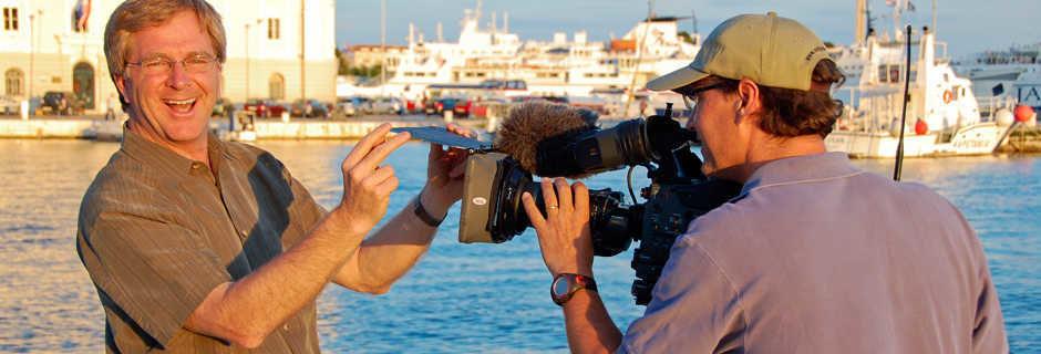 Rick Steves being filmed in Split, Croatia