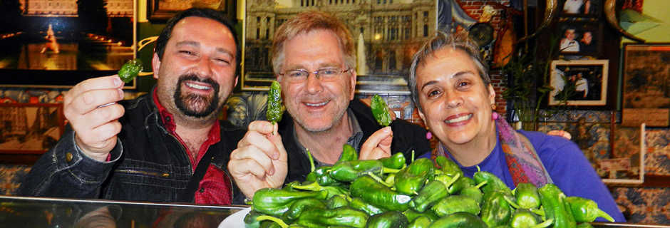 Rick Steves eating tapas in Spain