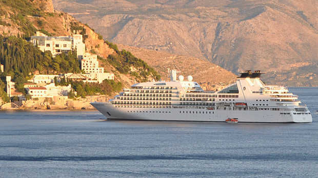 Cruise ship docked near Dubrovnik, Croatia