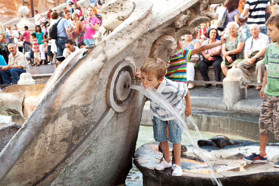 Sinking Boat Fountain and Spanish Steps, Rome, Italy