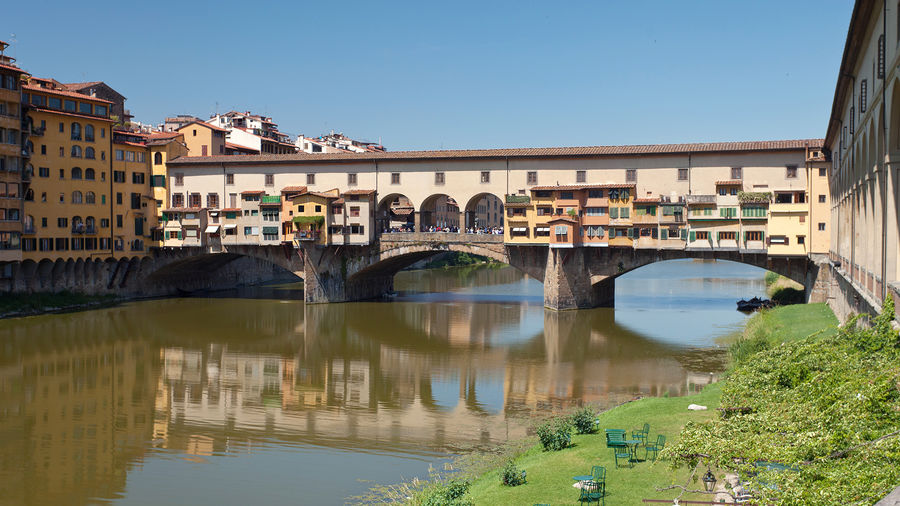 Ponte Vecchio and Arno riverbank, Florence, Italy