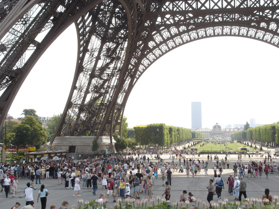 Ticket line under Eiffel Tower, Paris, France