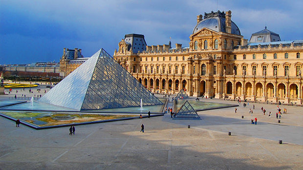 The Louvre and its pyramid, Paris, France