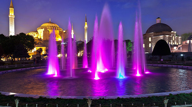 Fountain and Hagia Sophia, Istanbul, Turkey
