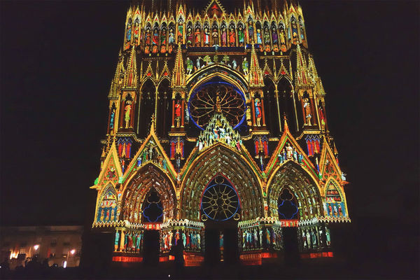 Reims Cathedral light show, Reims, France