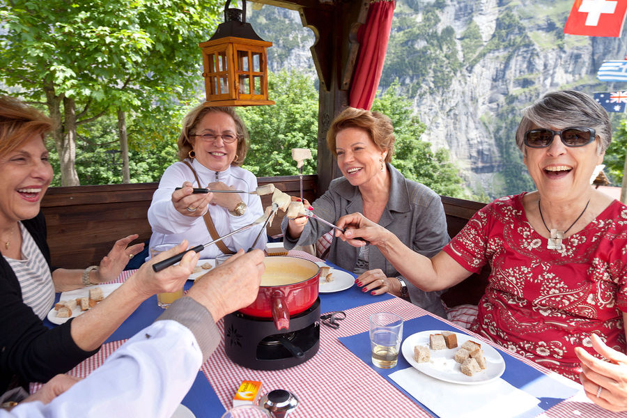 Fondue meal, Lauterbrunnen, Switzerland