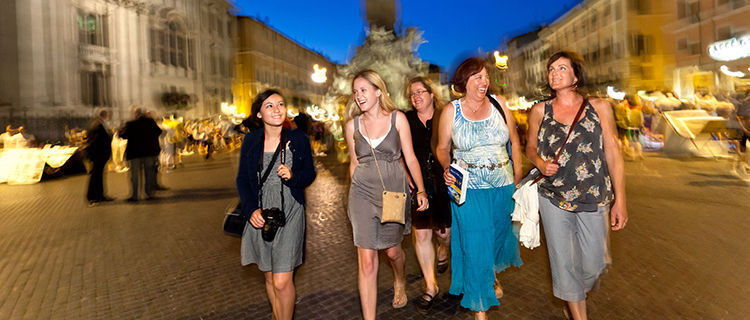 Evening stroll on Piazza Navona, Rome, Italy