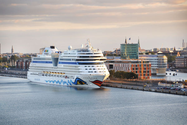Cruise ship docked in Copenhagen, Denmark