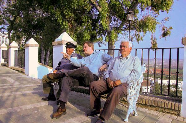 Rick with some new friends, Arcos de la Frontera, Spain