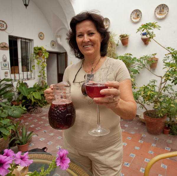 Sangria on the patio, Arcos de la Frontera, Spain