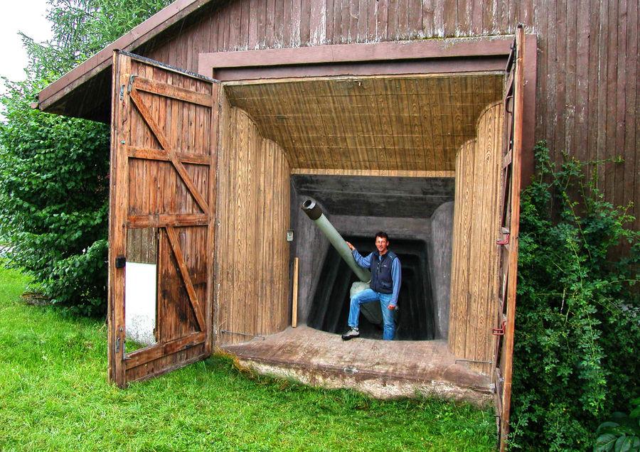 Hidden defense system in a barn near Interlaken, Switzerland