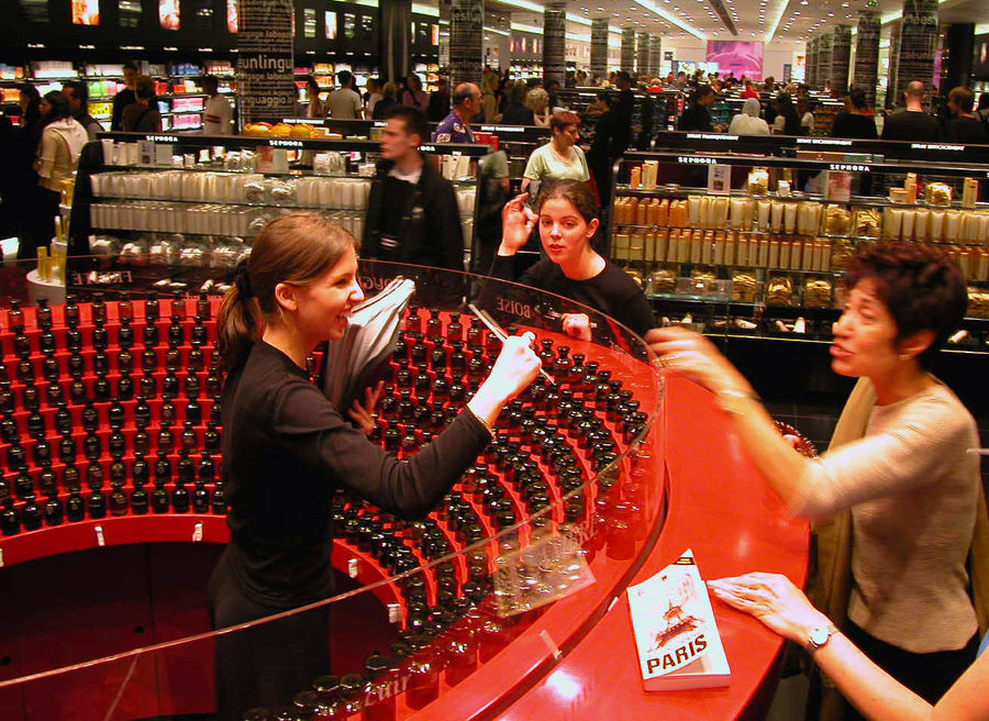 Perfume shopping at Sephora store, Paris, France