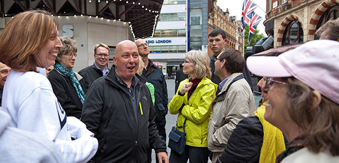 Walking tour in Leicester Square, London, England