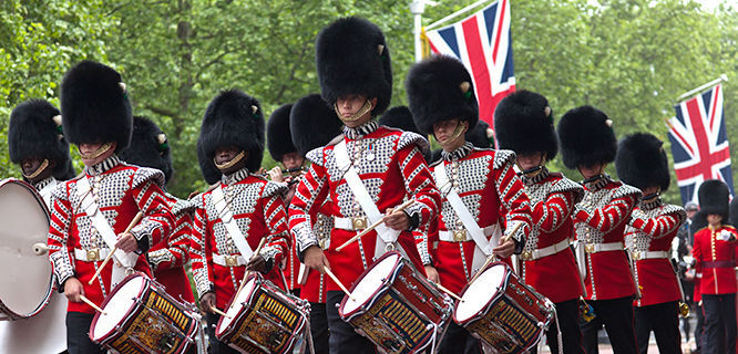 Marching guards, London, England