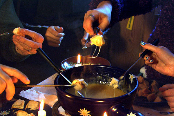 Fondue by candlelight, Berner Oberland, Switzerland