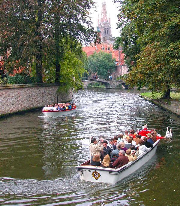Canal boats, Bruges, Belgium