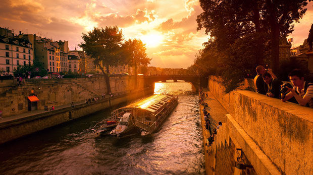 Riverboat on the Seine, near Notre Dame, Paris, France