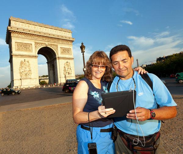 Following an audiotour at Arc de Triomphe, Paris, France