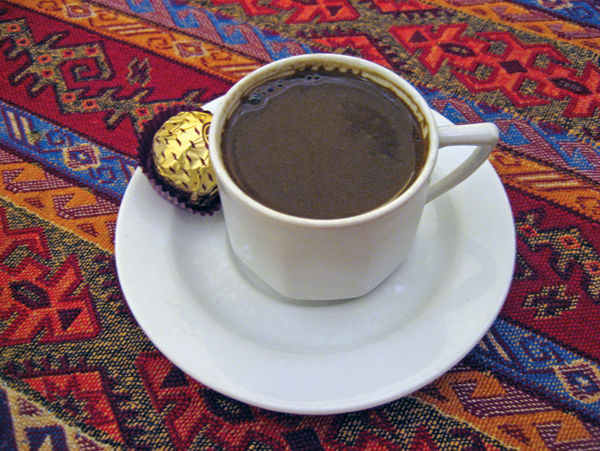 Turkish coffee as served in Grand Bazaar, Istanbul, Turkey