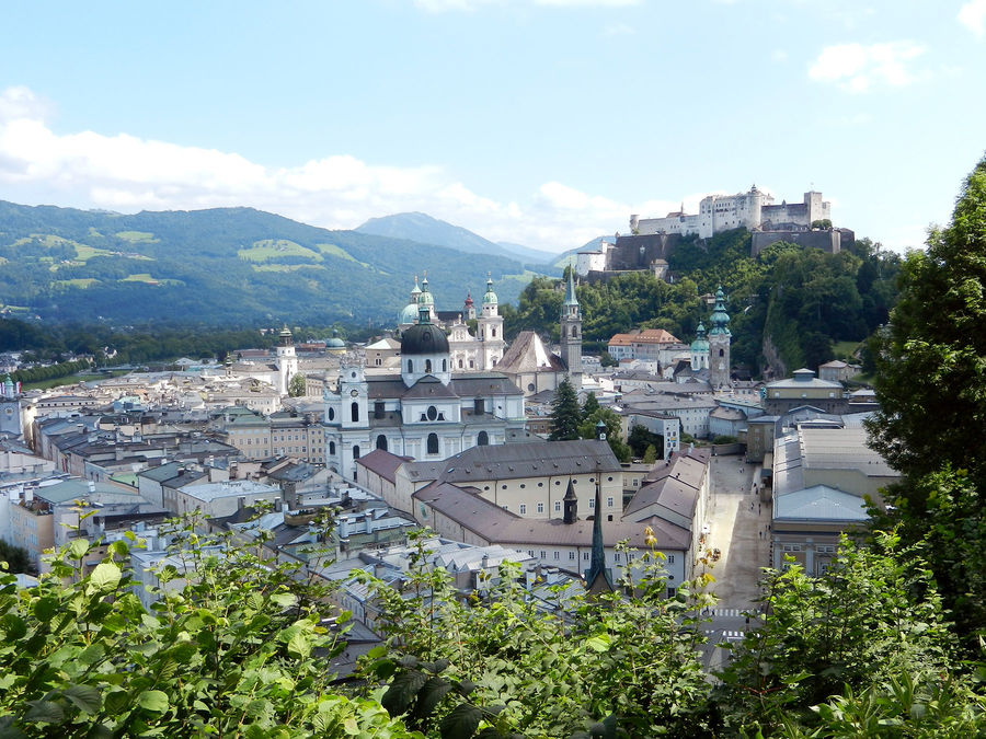 View from Mönchsberg cliffs, Salzburg, Austria