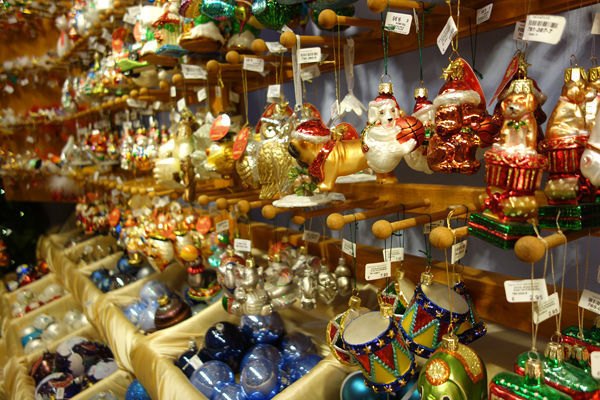 Christmas ornaments for sale in Käthe Wohlfahrt shop, Rothenburg ob der Tauber, Germany