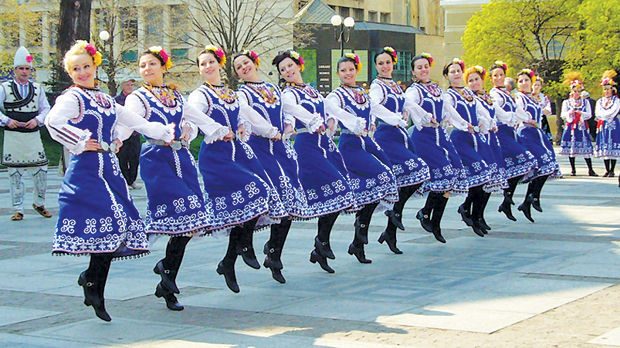 Folk dancers in Battenberg Square, Sofia, Bulgaria