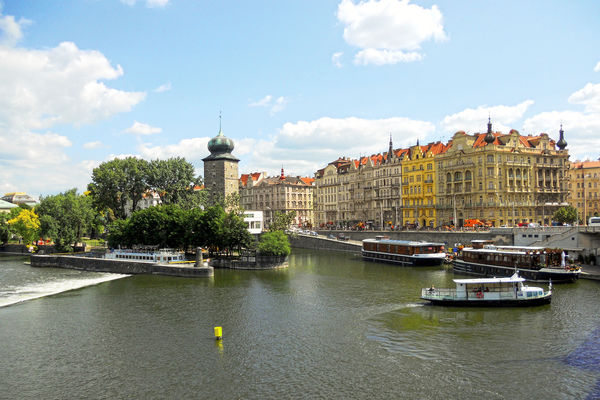 Slovanský Ostrov and riverbank, Prague, Czech Republic