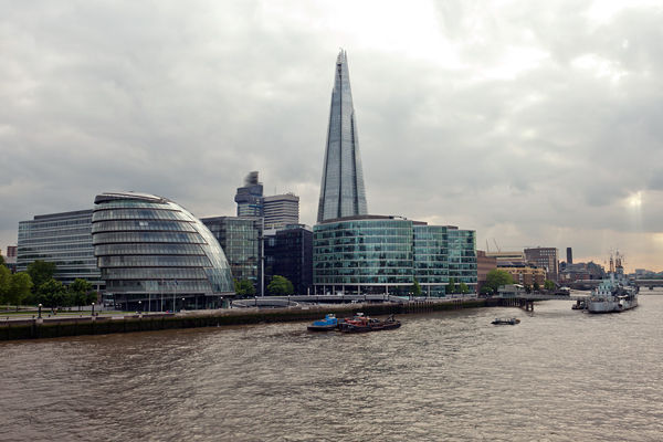 The Shard (center) and City Hall (left), London, England