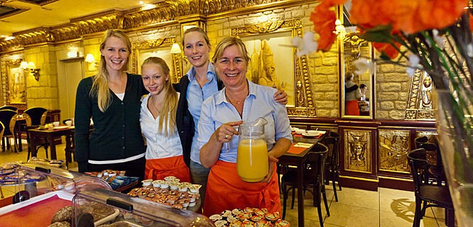 Hotel staff at breakfast, Haarlem, Netherlands