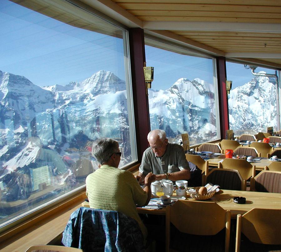 Piz Gloria restaurant atop Schilthorn peak, Berner Oberland, Switzerland