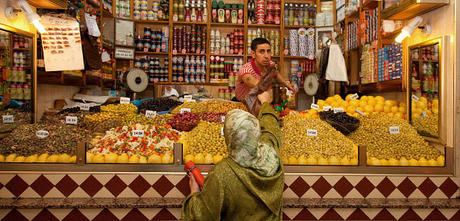 Tangier - piles of olives