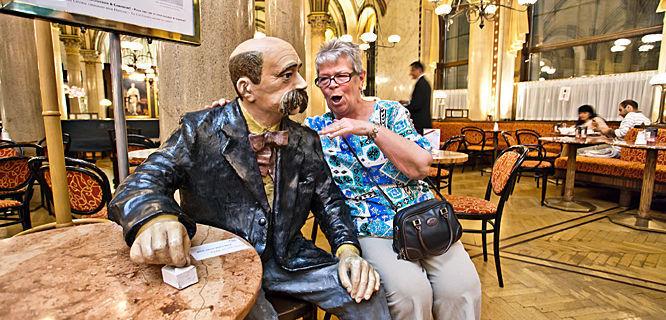 Chatting up poet Peter Altenberg at Café Central, Vienna, Austria