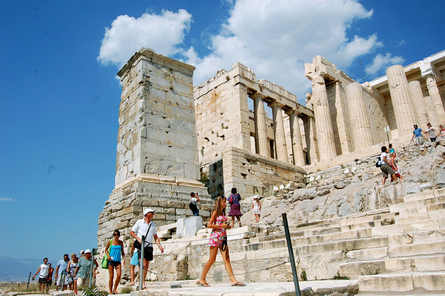 Propylaea and Monument of Agrippa, Acropolis, Athens, Greece