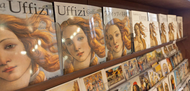 Books for sale in the Uffizi Gallery, Florence, Italy