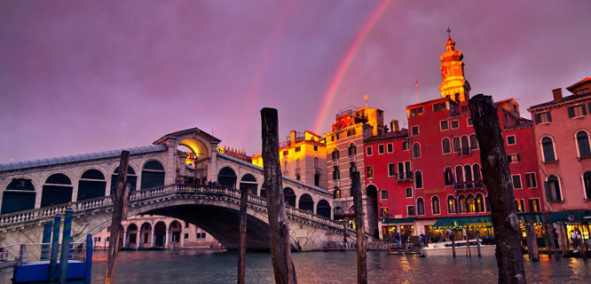 Rialto Bridge and rainbow, Venice, Italy