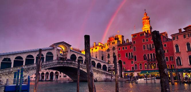 Rialto Bridge and rainbow, Venice, Italy