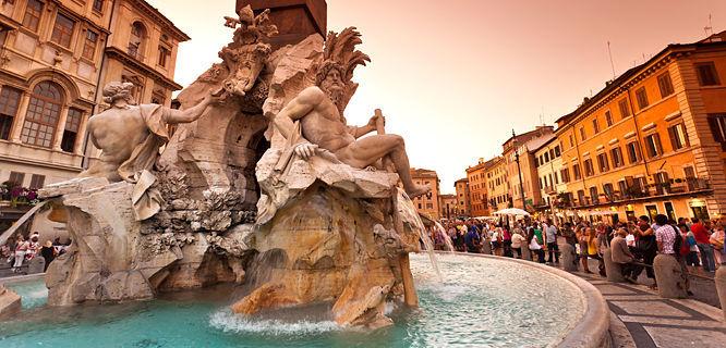 Four Rivers Fountain (Bernini), Piazza Navona, Rome, Italy