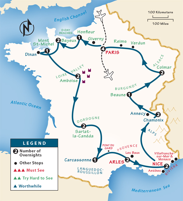 France Itinerary Where to Go in France by Rick Steves – Train Travel In France Map