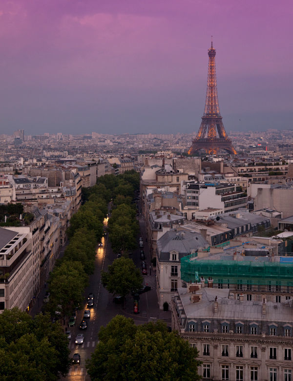 Eiffel Tower as seen from Arc de Triomphe, Paris, France