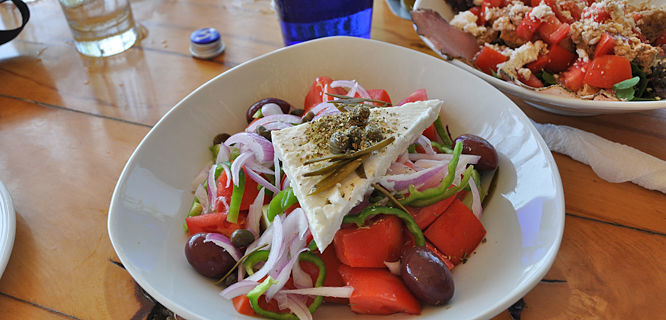 Greek salad, Mykonos, Greece