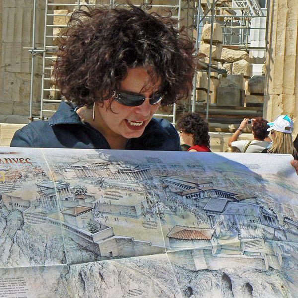 Tour guide at the Acropolis, Athens, Greece