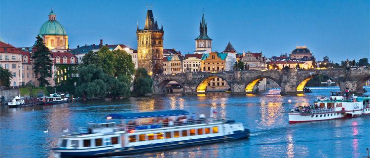 Vltava River and Charles Bridge, Prague, Czech Republic