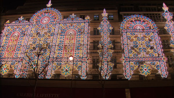 Galeries Lafayette lit up for Christmas, Paris, France