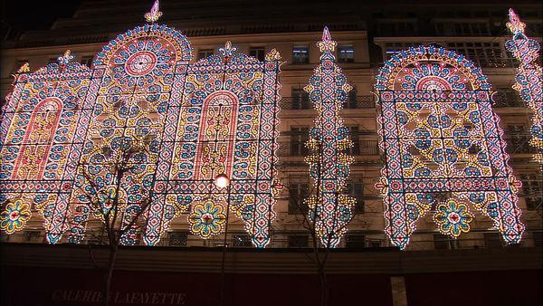 Galeries Lafayette lit up for Christmas, Paris, France