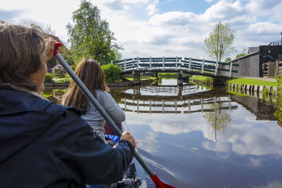 Canoeing in Waterland region, Netherlands