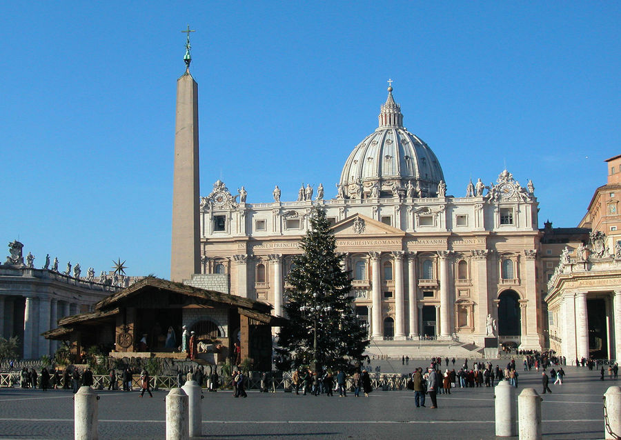 St. Peter's Square at Christmastime, Vatican City, Rome, Italy